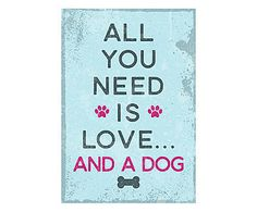 Placa Decorativa Love and a Dog - 30x44cm