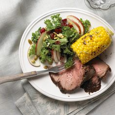 Beer-Soaked Beef Rotisserie Roast with Skillet Corn and Kale Salad - Yummy Lunch Club Sirloin Tip Roast, Sirloin Tips, Cross Rib Roast, Bbq Rotisserie, Skillet Corn, Kale Salad Recipes, Round Roast, Beef Recipes, Dishes