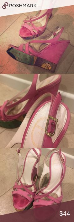 Emilio Pucci 2008 pink suede wedge sandals 36.5 Authentic. Butter smooth pink leather wedges with signature Pucci wraparound cork detail and stamped gold buckle. Strappy detail across the vamp.  Reposh! I loved the look of these and wanted to bring them new life in my closet but they're too big and the strap keeps falling. Definitely a true 36.5.  This is a crazy deal for $895 heels! Please look at all pics to see the wear. A trip to your favorite cobbler will easily revitalize this designer…