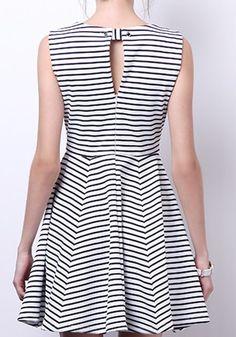 Multicolor Striped Zipper Sleeveless Buttons Polyester Dress