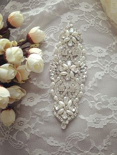 SALE rhinestone appliquecrystal bridal Sash applique by lacetime