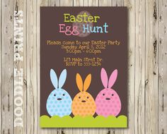 "Easter Egg Hunt Invitation - Printable Easter Party Invitation - Rabbits Birthday Invitation ""Bunny Eggs Design"" 5x7"" or 4x6"" on Etsy, $8.00"