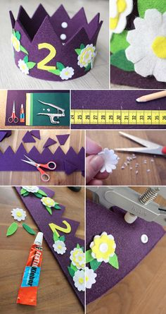 Gingered Thing, crown, kids, birthday, craft, DIY, Krone, Filz, Geburtstag, Kinder,
