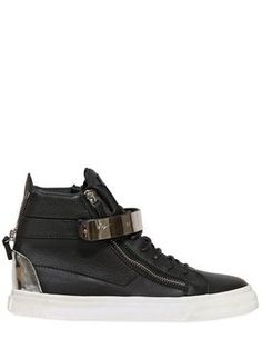 Double Zipped Leather High Top Sneakers