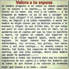 Como tienes que valorar tu esposa Timeline Photos, Favorite Quotes, Quotations, Art Pieces, Words, How To Make, Amor, Cool Things, Lovers
