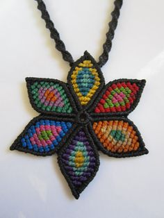 Multicolor Macrame Flower Pendant Creation by PapachoCreations