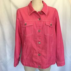 """Great looking pink jacket by Denim & Co. Chest circumference - 45"""". Adjustable bottom with metal button and flap. 70% cotton, 20% polyester and 4% spandex. Metal buttons down front and on sleeve cuffs.   eBay!"""