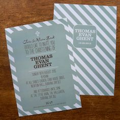An A5 'Candy Stripe' design in dusky sage on ivory card.