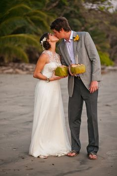 Costa Rica Wedding / Love the coconut drinks!