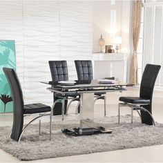 Breakfast Bar Stools Dining Chairs Extending Table Set Furniture Glass Top Metal