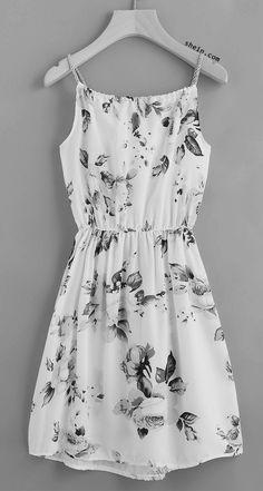 SheIn offers Floral Print Random Drawstring Elastic Waist Cami Dress & more to fit your fashionable needs. Belted Shirt Dress, Tee Dress, Elegant Dresses, Casual Dresses For Women, Casual Clothes, Beautiful Dresses, Leila Yavari, Flower Dresses, Boho Dress