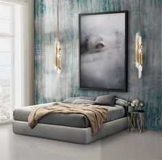 Terrific Neutral Grey Bedroom Design With Wallpaper   The post  Neutral Grey Bedroom Design With Wallpaper…  appeared first on  Cazoz Diy Home Decor .