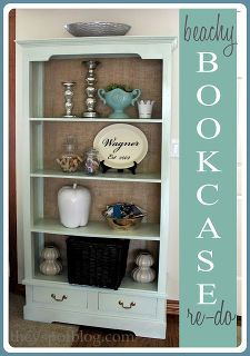 a beachy bookcase makeover, painted furniture, storage ideas, Burlap and a fresh coat of paint made this bookcase allllll better