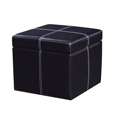 DecentHome Stitched Leather Square Cube Ottoman Footstool Black *** Check this awesome product by going to the link at the image. (This is an affiliate link)