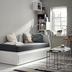 FLEKKE dipan dengan 2 laci/2 kasur, putih/Malfors keras medium | IKEA Indonesia Large Cushion Covers, Large Cushions, Types Of Furniture, Bed Furniture, Lit Banquette 2 Places, Day Bed Frame, Sofa Daybed, Bed Slats, Small Bedrooms