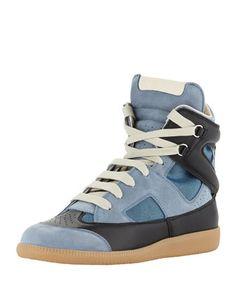 Men\'s Multi-Leather High-Top Sneaker, Blue/Black by Maison Martin Margiela at Neiman Marcus.