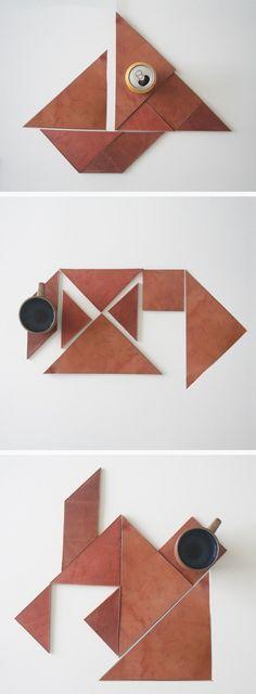 Tangram Leather Coasters