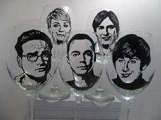 Big Bang Theory Sheldon Cooper Hand Painted Glasses by wineOglass