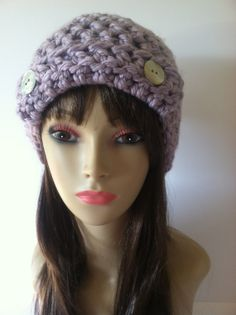 Crochet Lavender Chunky Beanie with front flap by ScarletsCorner, $25.00