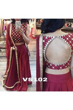 Bollywood Style - Wedding Wear Maroon Lehenga Choli  - VS102 Blouse Designs High Neck, Choli Blouse Design, Saree Blouse Designs, Blouse Patterns, Indian Fashion Trends, Indian Designer Outfits, Lehenga Designs, Velvet Saree, Stylish Blouse Design