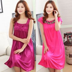 d16c3b8ed 2017 Summer Solid Pijama Women Nightwear Silk Nightgowns Girls Sleepwear  Casual Robe Night Dress Home Clothing