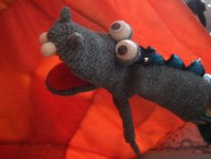hand puppet crocheted CRAZY DRAGON (very soft) | Grotesquestudio MISI Handmade Shop