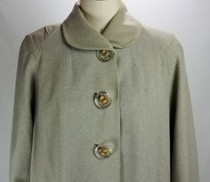 Vintage Lovely 1940s Pale Gray and Cream Wool Coat-Fabulous Buttons-Modern Size 8/10 by TunnelofLoveVintage on Etsy