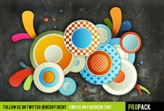 """Cool Colorful RetroPack PSD's Graphics. Circular madness or Retro-Amazingness? You choose with DBD's all new RetroPack! Use these custom PSD's to make your designs scream OLDSCHOOL! This is a freeware brush pack. This means that you can use it on your commercial or non-commercial works for free. Video Tutorial: http://youtu.be/HtzihO6KDDY If you like our packs don't forget to: ------------------------------------------------------- """"Like"""" us on Facebook…"""