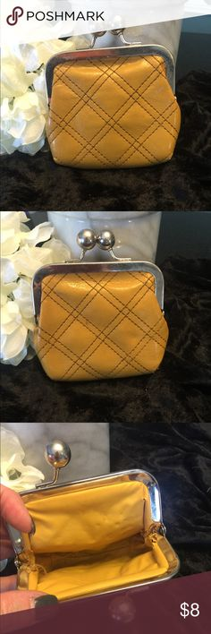 Retro mustard color change purse. Retro mustard color change purse.  It is not in the best condition on inside lining corners but very cute retro change purse and great color. Priced accordingly and will accept offers. Bags Wallets