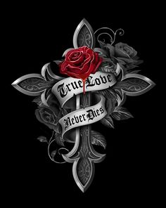Art by Gothic Rose Cross Wallpaper, Gothic Wallpaper, Skull Wallpaper, Heart Wallpaper, Cross Pictures, Skull Pictures, Hand Tattoos, Rose Tattoos, Cross With Wings Tattoo