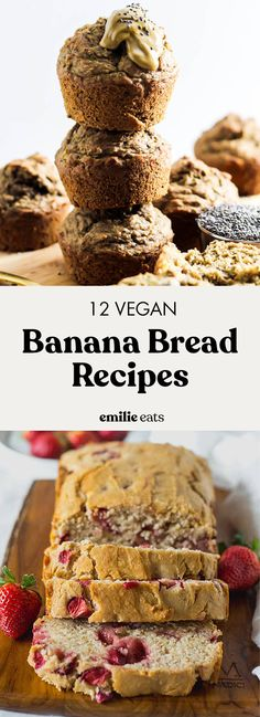 12 Vegan Banana Bread Recipes Round up of 15 of Best Vegan Banana Bread recipes! They're perfect for breakfast or a healthy snack. Vegan Dessert Recipes, Vegan Breakfast Recipes, Delicious Vegan Recipes, Vegan Sweets, Fruit Recipes, Dairy Free Recipes, Snack Recipes, Healthy Desserts, Breakfast Ideas