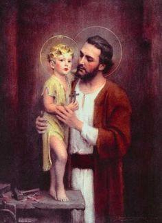 St Joseph and the child Jesus Catholic Religion, Catholic Art, Catholic Saints, Roman Catholic, Religious Pictures, Religious Icons, Religious Art, St Joseph, Angels