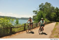 Niagara River Recreation Trail. Bike from Niagara on the Lake & cut through the botanical gardens. Stop at a market for picnic food. Or bike to Fort Erie from the falls and eat at a riverside restaurant when you get there.
