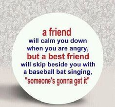 """A friend will calm you down.  A BEST friend will skip beside you with a baseball bat singing """"someone's gonna get it"""""""