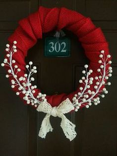 Country Christmas Wreath by LittleLadyWeaver. DIY idea, Christmas wreath, winter wreath, red and white wreath, winter projects Wreath Crafts, Diy Wreath, Christmas Projects, Holiday Crafts, White Wreath, Wreath Ideas, Door Wreaths, Grapevine Wreath, Diy Crafts