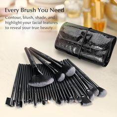 Uspicy Make up Pinsel 32-tlgs Schmink Pinselset etui Schmink Kosmetik Lidschatten Gesichtspinsel