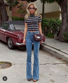 Striped Tee / Flare Denim Jeans / Heels / Vintagw Bag & Sunnies