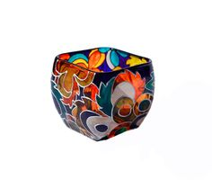 Hand Painted Glass Candle Holder  Colorful Glass by SylwiaGlassArt, $80.00
