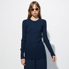 FWSS Damn That Valley is a ribbed top crafted from a stretchy cotton fabric. Fall Winter Spring Summer, Ribbed Top, Blue Tops, Cotton Fabric, High Neck Dress, Turtle Neck, Sweaters, Shopping, Clothes