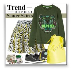 """Kenzo Skater"" by adduncan ❤ liked on Polyvore featuring Kenzo, kenzo and skaterskirt"