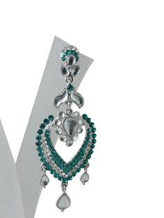 "Amazon.com: ""Tarini Jewels"" Dangling Earring Set Wedding Fashionl Enamel American Diamond Polki Earrings: Tarini Jewels: Jewelry"