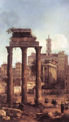 "A painting entitled ""Rome: Ruins of the Forum, Looking towards the Capitol"" by Canaletto. This was painted in 1794. Think about the fact that these ruins have been standing for over 2000 years. Just take a second and think about it. Will American buildings stand that long?"