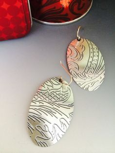 Elegant silver and black upcycled earrings with by SusanParrishART, $18.00