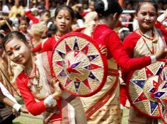 The Bihu dance is a folk dance from the Indian state of Assam related to the festival of Bihu.
