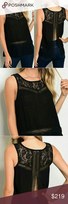 Chic lace detail, split back top! Chic black lace split back top! This is how you do black in the summer! Lace detail! Split back! Cool and sexy vibes! Happy Shopping! Glam Vault Tops Tank Tops