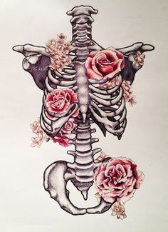 Skeleton tattoo with flowers http://www.ellewills.bigcartel.com/product/caged