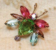 Juliana DeLizza Elster Book Piece Crystal Bug Figural Brooch Pin | VintageTreasuresFound - Jewelry on ArtFire