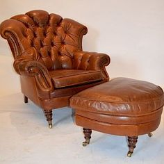 Tetrad Tan Leather Chesterfield Armchair with Half Moon Footstool - SOLD