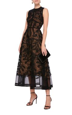 A-Line Lace Midi Dress by ELIE SAAB Now Available on Moda Operandi