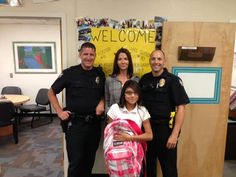 After seeing young Leslie crying on her walk to school while carrying 2 books and nothing else, an aid asked what was wrong. Leslie said she didn't have a backpack and wouldn't be able to get one for another couple weeks.  An officer who was there at the time contacted a fellow officer and decided to go to Target. They bought Leslie a backpack, plus folders, a lunch box, pencils and more to brighten her 1st day of school